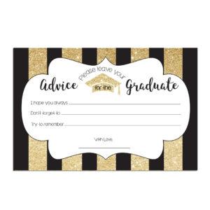 Gold Striped Graduation Advice Cards