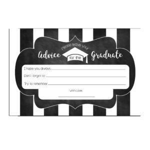 Chalkboard Striped Graduation Advice Cards
