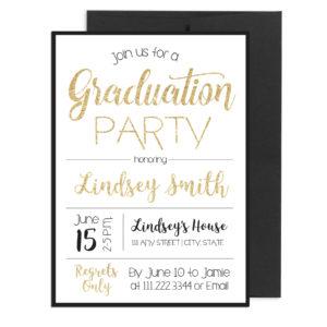 Gold and Black Sparkle Graduation Invite