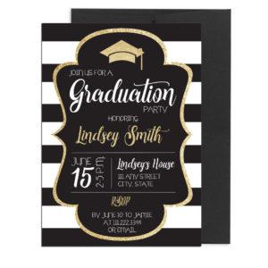 Gold and Black Graduation Invite