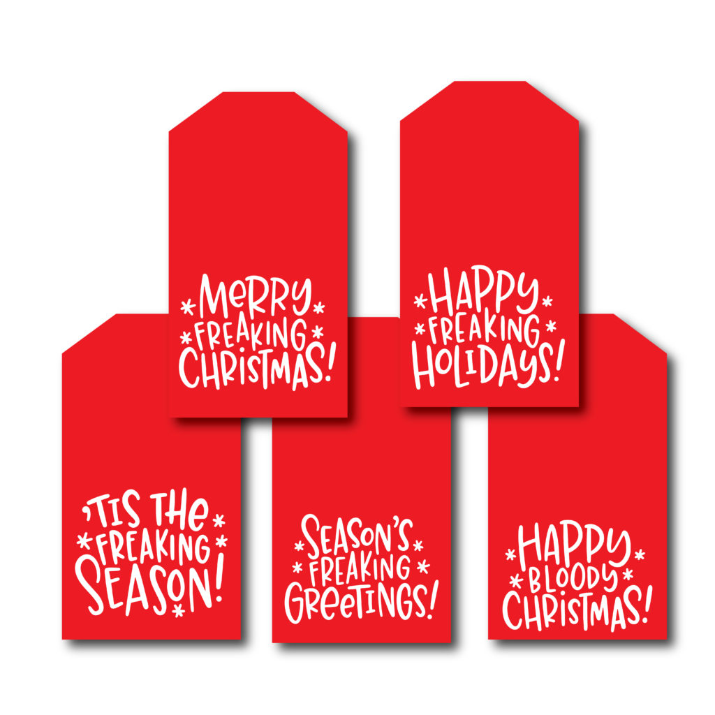 Funny Christmas Tags Printed Set Of 10 String Aj