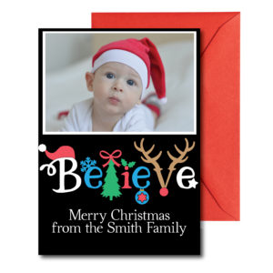 Believe Holiday Card with Photo