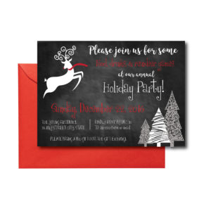 Chalkboard Reindeer Holiday Party Invite