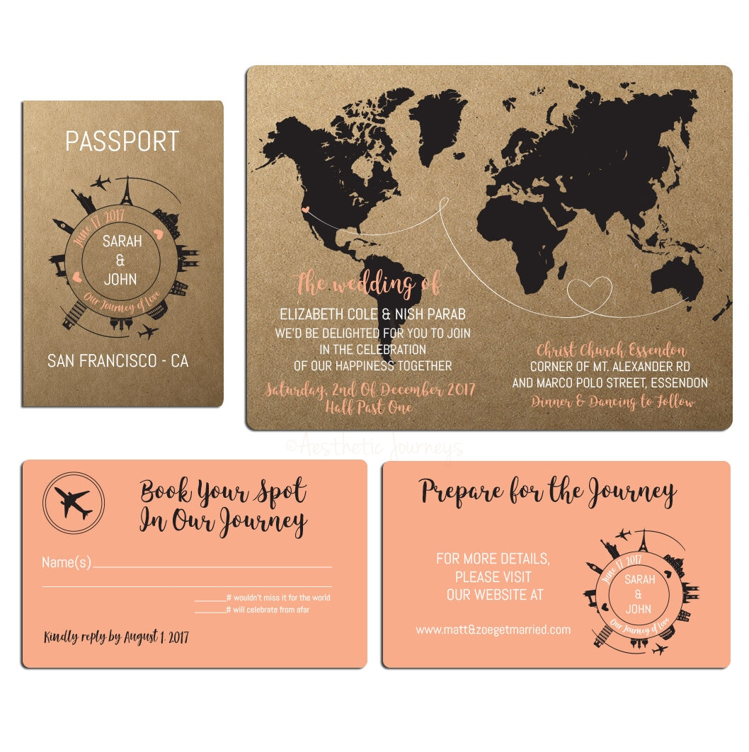 Passport Wedding Invite In Rustic Style Envelopes