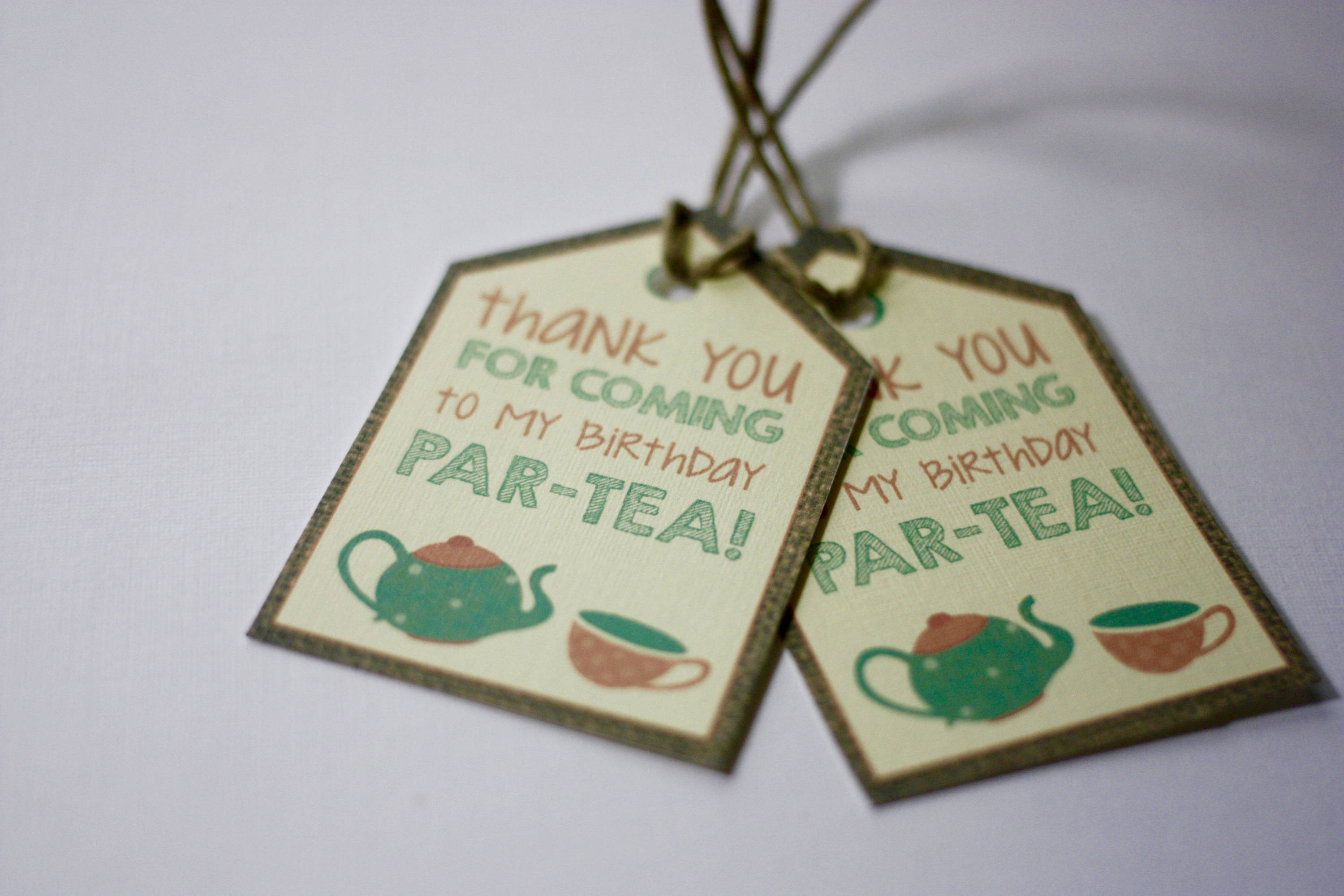 tea party thank you tags birthday party decorations set of