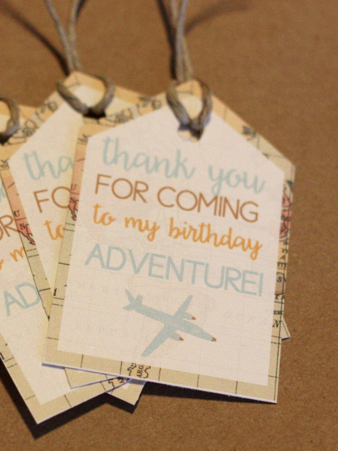 travel themed thank you tags birthday party decorations